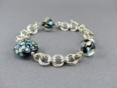 Sterling Silver Chainmaille Bracelet with Beads by WireExpressions   *Designs, Photo's  Intellectual Property are © copyright Wire Expressions™. ALL RIGHTS RESERVED.