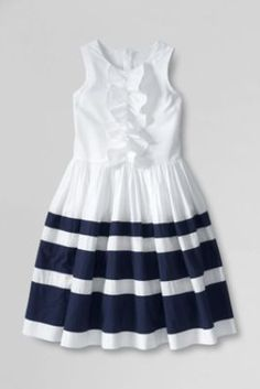 Girls' Sleeveless Stripe Dress from Lands' End.  Looking around finally, this would be adorable for Kate, yes?