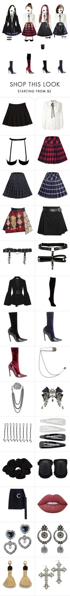 """""""G-1 _ AIMING AT YOU"""" by xxeucliffexx ❤ liked on Polyvore featuring Diane Von Furstenberg, Gucci, FAUSTO PUGLISI, Alexander McQueen, Hot Topic, Rejina Pyo, Hue, Balenciaga, Dolce&Gabbana and BOBBY"""