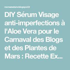 DIY Sérum Visage anti-imperfections à l'Aloe Vera pour le Carnaval des Blogs et des Plantes de Mars : Recette Express
