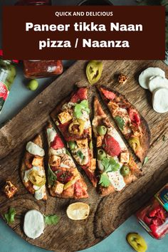 Paneer tikka Naan Pizza or Naanza - Indian inspired Naan pizza recipe with marinated paneer cubes, roasted bell peppers, cheese and aromats! Perfect any time of the day and is a great dish to make when entertaining! Check out the recipe for this quick and easy Naan pizza..! #pizza #desipizza #paneer #indianinspiredrecipes #vegetariandinnerecipes #vegetarianrecipes #dinnerideas | cookingwithpree.com Best Indian Recipes, Best Dinner Recipes, Pizza Recipes, Casserole Recipes, Crockpot Recipes, Vegetarian Recipes, Naan Pizza, Naan Flatbread, Pizza Pizza