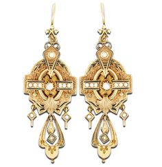 Barker's Jewelry Gallery Gorgeous 14 kt Victorian earrings set with pearls  and black enamel, circa 1860