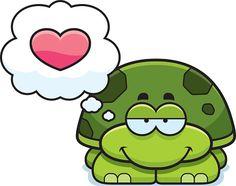 Pequena tartaruga no amor - ilustração do vetor
