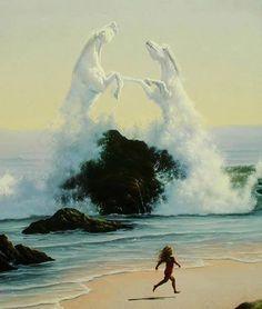 The beautiful art of waves creating 2 horses