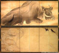 長沢芦雪「白象黒牛図屏風」