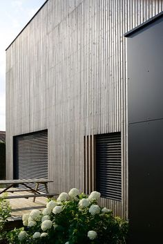 """Timber-framed """"bioclimatic"""" house with larch cladding by Tectoniques Larch Cladding, House Cladding, Exterior Wall Cladding, Residential Architecture, Contemporary Architecture, Interior Architecture, Detail Architecture, Wooden Facade, Houses In France"""