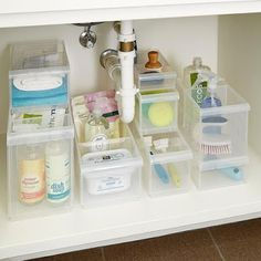 Under Sink Bathroom Organizer parts can add a touch of style and design to any home. Under Sink Bathroom Organizer can imply many issues to many individuals… Bathroom Sink Organization, Sink Organizer, Undersink Bathroom Storage, Stackable Plastic Storage Bins, Plastic Bins, Under Bathroom Sinks, Bathrooms, Kitchen Sinks, Small Bathroom