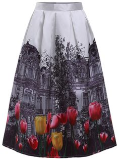Shop White Tulips House Print Flare Skirt online. SheIn offers White Tulips House Print Flare Skirt & more to fit your fashionable needs.