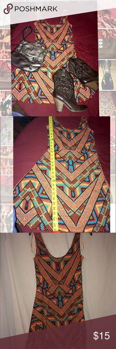 """❤️NEW LISTING❤️NWOT. SW Print Size Large Minidress BRAND NEW And ABSOLUTELY NEVER WORN Size Large Southwestern Dress.  It is 34"""" long from shoulder to bottom of dress.  It's very stretchy and goes AMAZING with Boots and a jean jacket or vest. Angie Dresses"""