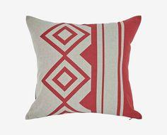 Pretsea Linen Print Pillow - Red