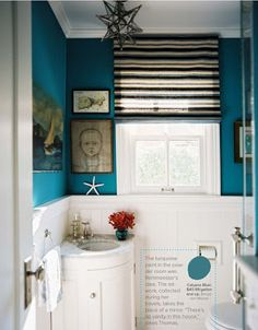 The Transformative Power of Paint:  Peacock Blue Bathroom Benjamin Moore Calypso Blue.  From Lonny