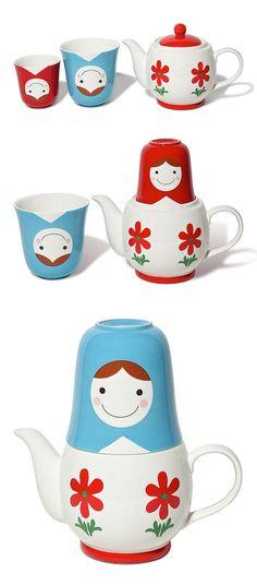 Matryoshka   Babushka Teapot Set
