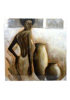 Lienzo moderno con imagen de mujer con jarrones. Bastidor fabricado en madera. En tonos beige y marrón. Medidas 100 x 100 cm  Colócalo en el pasillo, subida de escalera, salón, sala de estar, comercio... Envío gratis en 24 h.