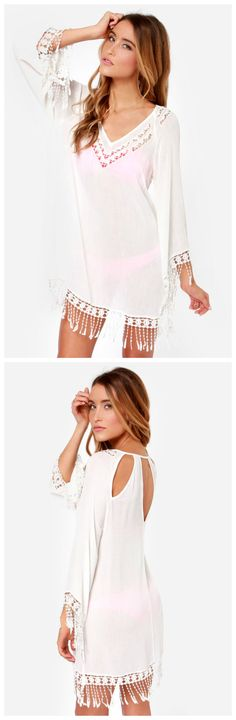 Ivory Crocheted Cover-Up #resort