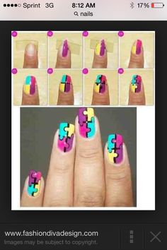 12 amazing diy nail art designs using scotch tape scotch tape puzzle piece nails that are awesome prinsesfo Choice Image