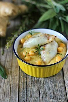 Crema di ceci con calamari ripieni.
