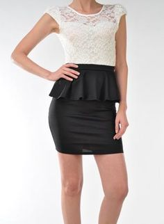 Black Cocktail Dress - Lace Peplum Dress