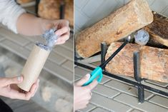 Make your own firestarter by stuffing toilet paper rolls with dryer lint.
