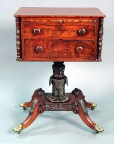 Federal mahogany work table having rectangular top, pull out slide, over two drawers with carved columns in corners, set on carved pedestal on platform having four carved downswept members, ending in pad feet, attributed to Bouvier. | http://www.nadeausauction.com/auctiondata/242382/images/190_1.jpg