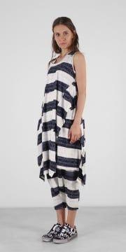Double Layer Print Stripe Dress