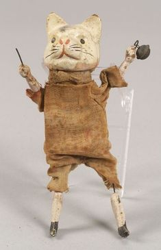 Cat Squeeze Toy, probably Continental, 19th century, ht. 6 3/8 in.