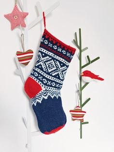 Everyone should have a Christmas stocking, regardless of their age. This Marius Christmas stocking from Knit Nordic by Eline Oftedal is big enough to hold lots of goodies and presents. The stocking is knitted from the top down on double-pointed needles and using DK yarn held double.