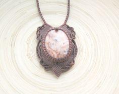 Agate macrame necklace crazy lace agate от PieceOfGraceArt на Etsy