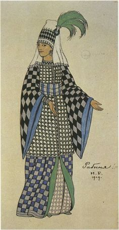 Ivan Bilibin - Costume design for the Opera 'The Golden Cockerel', 1909