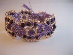 Beaded macrame bracelet - lavender, lilac, light purple. $20.00, via Etsy.