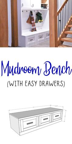 The easiest way to build a mudroom bench with drawers.  Free plans by ANA-WHITE.com #anawhite #anawhiteplans #mudroom #mudroombench #storagebuilds #organization #diy Bench With Drawers, Built In Bench, Budget Bathroom, Small Bathroom, Farmhouse Homes, Farmhouse Decor, Plywood Cabinets, Free Plans, Ana White