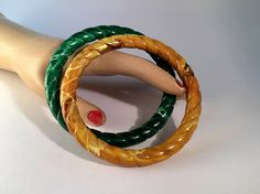 Pair Fakelite Bangles ? Two Marbled Plastic Ropes ? Forest Green and Golden Yellow Bracelets