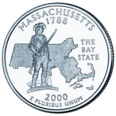 "Reverse of the Massachusetts state quarter. The coin features a design of ""The Minuteman,"" a famous statue that stands guard at The Minuteman National Historical Park in Concord, Massachusetts. The Minutemen were important Revolutionary War forces of regular farmers and colonists who could assemble to fight at a minutes notice."