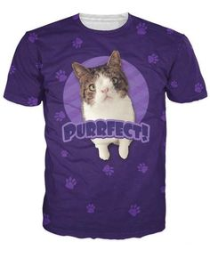 Purrfect Dark Purple T-Shirt 2016 New Arrive Fashion Clothing UniCat Monty Purrfect Dark Purple T-Shirt Casual tshirt Cute Lovely Animal tee For Women Men JAKKOU††HEBXX JAKKOU††HEBXX - JAKKOUTTHEBXX