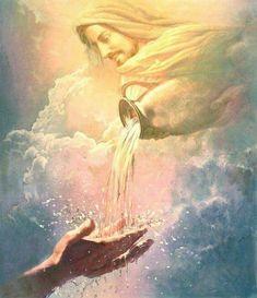 Life-giving water-by Yongsung Kim, Jesus Christ in clouds pouring water from vessel into outstretched hands. Image Jesus, Jesus Christ Images, Jesus Art, Art Prophétique, Jesus Painting, Saint Esprit, Prophetic Art, Biblical Art, Lion Of Judah