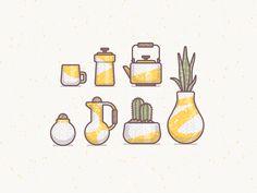 Ceramic Ideas designed by Ryan Putnam. Connect with them on Dribbble; Web Design, Icon Design, Logo Design, Flat Design, Illustration Sketches, Graphic Design Illustration, Branding, Simple Art, Design Reference