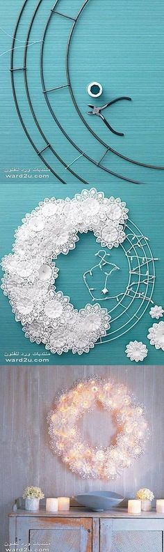 DIY Paper Doily fairy light  Wreath Tutorial