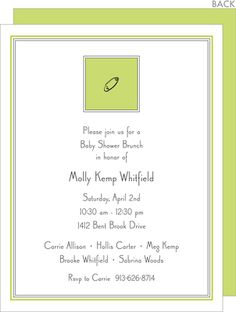 Chartreuse Diaper Pin Personalized Shower Invitations