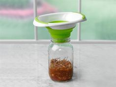 The Ball® Brand Collapsible Funnel accommodates all jar sizes and fits in your drawer!