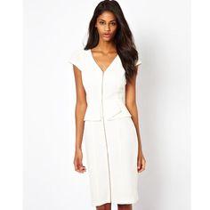 New Fashion Women Front Zipper OL Peplum Bandage Dress Wear To Work Casual V-Neck Business Pencil Su