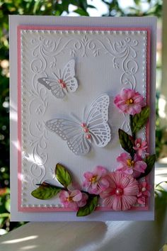 The embossing folder is Mpress, Cheery Lyn butterflies and some older Prima flowers Card Ideas,Cards, Making Greeting Cards, Greeting Cards Handmade, Butterfly Cards, Flower Cards, Butterfly Birthday Cards, White Butterfly, Butterfly Flowers, Pretty Cards, Cute Cards