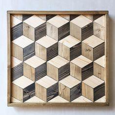 Geometric Hexagon Wood Wall Art Hexagon Wood Wall by CaisleyCo