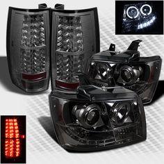 For Smoked 07-14 Suburban Tahoe Halo LED Pro Headlights+LED Tail Head Lights