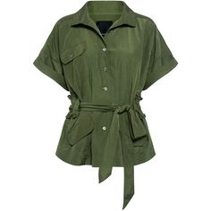 Marissa Webb - Clara Trench Jacket (750 BRL) ❤ liked on Polyvore featuring outerwear, jackets, coats, tops, green jacket, army green jackets, green field jacket, field jackets and green trench jacket