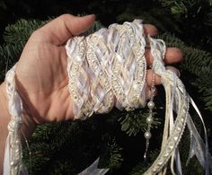 Wedding Handfasting Cord White and Ivory satin and by Pixadoodles, $40.00