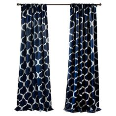 Add a pop of pattern to your master suite or living room with this eye-catching curtain, showcasing a trellis motif and navy hue.   ...