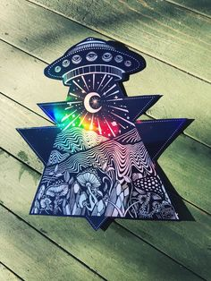 Holographic Out of this World UFO Alien Mountain Mushroom Crystal - Extra Large sticker Alien Drawings, Trippy Drawings, Psychedelic Drawings, Art Drawings, Hippie Painting, Trippy Painting, Arte Alien, Alien Art, Trippy Alien