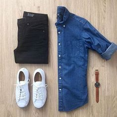 #mensstyleblog @votrends:Saturday vibes : @mrjunho3 #mensjeans #Sneakers #mensstyleblog #whitesneakers #denimshirt #welldressedmen #wellstyledman #gqstyle #gqinsider #menscasualwear #casualstyle #stylishmen @mallenpics
