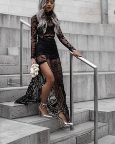 Dress: tumblr black maxi maxi long mesh mesh lace black lace see through see through slit pumps