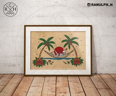 Coconuts Kill - Tropical Palm beach drink skull skeleton rose tattoo vintage framed print - By Ranulph Horne