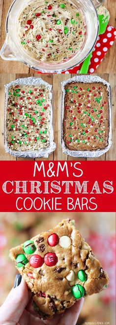 M&M'S Christmas Cookie Bars Recipe Christmas holiday baking holiday cookie holiday cooking Holiday Cookies, Holiday Treats, Holiday Recipes, Holiday Gifts, Winter Recipes, Holiday Bars, Holiday Foods, Christmas Snacks, Christmas Cooking
